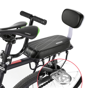 Bike Saddle Bike Child Seat with Back Rest Bicycle Back Seat MTB Bicycle Rear Rack Saddle PU Leather Cushion For Cycling Parts