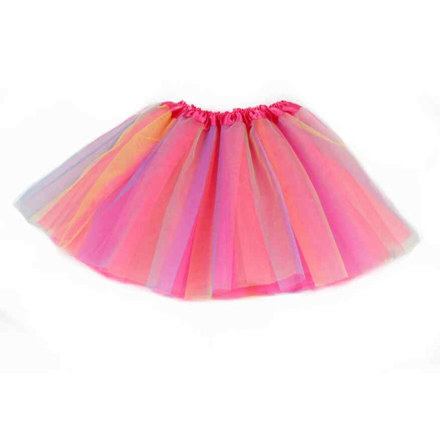 2-7Y Baby Girls tutú faldas Arco Iris colorido niño vestido de fiesta niños niñas ropa princesa tul falda baile Ballet un tamaño a325