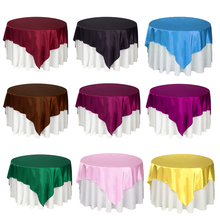 1pc Double Stitched Edge Satin Tablecloth 145cm X 145cm Table Cloth Overlay For Home Christmas Party Table Decoration 22 colors