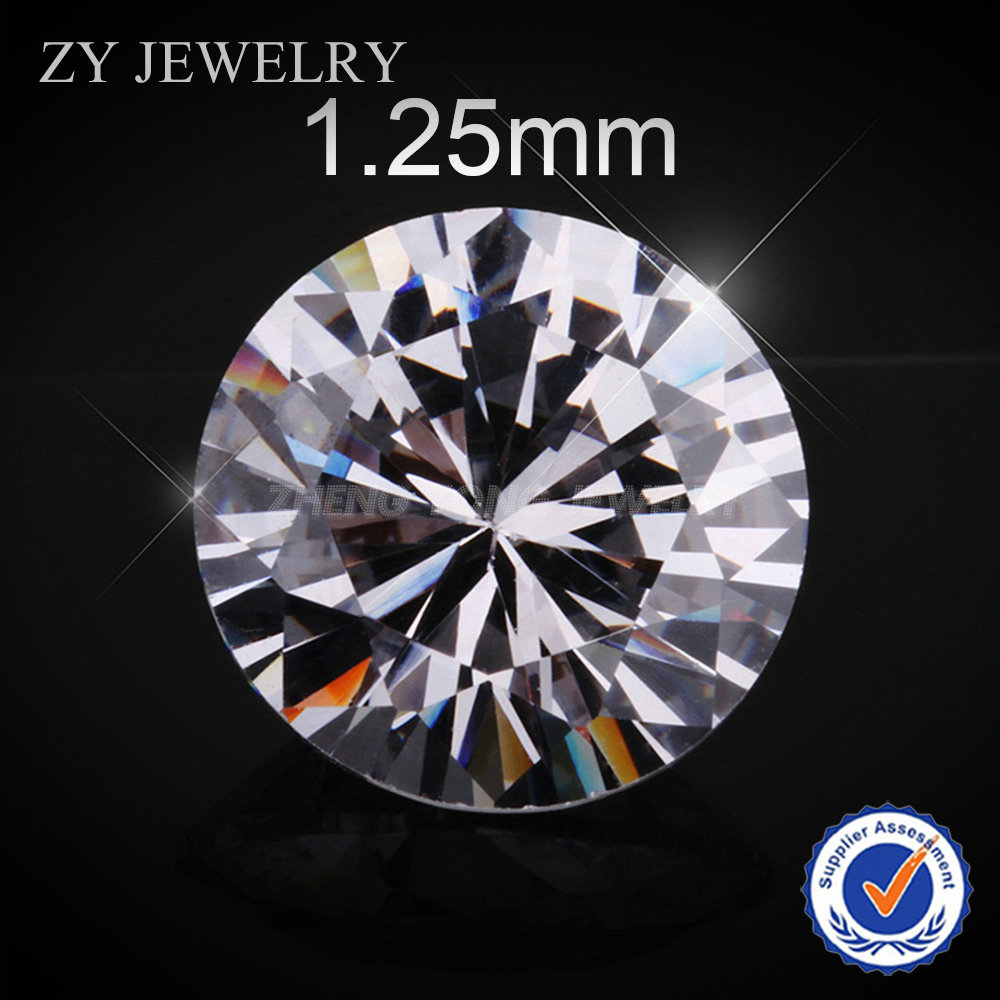 1.25mm Round Brilliant Cut White Synthetic Cubic Zirconia Loose CZ Stone