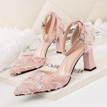 Nueva mujeres de la manera bombea las señoras de los altos talones del partido  zapatos sexy pluma en Punta elegantes zapatos de . 2c547b9f8585