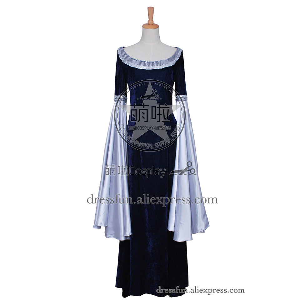 The Lord of the Rings Cosplay Arwen Beautiful Costume New Blue Dress Uniform Outfits Suit Halloween Fashion Party Fast Shipping