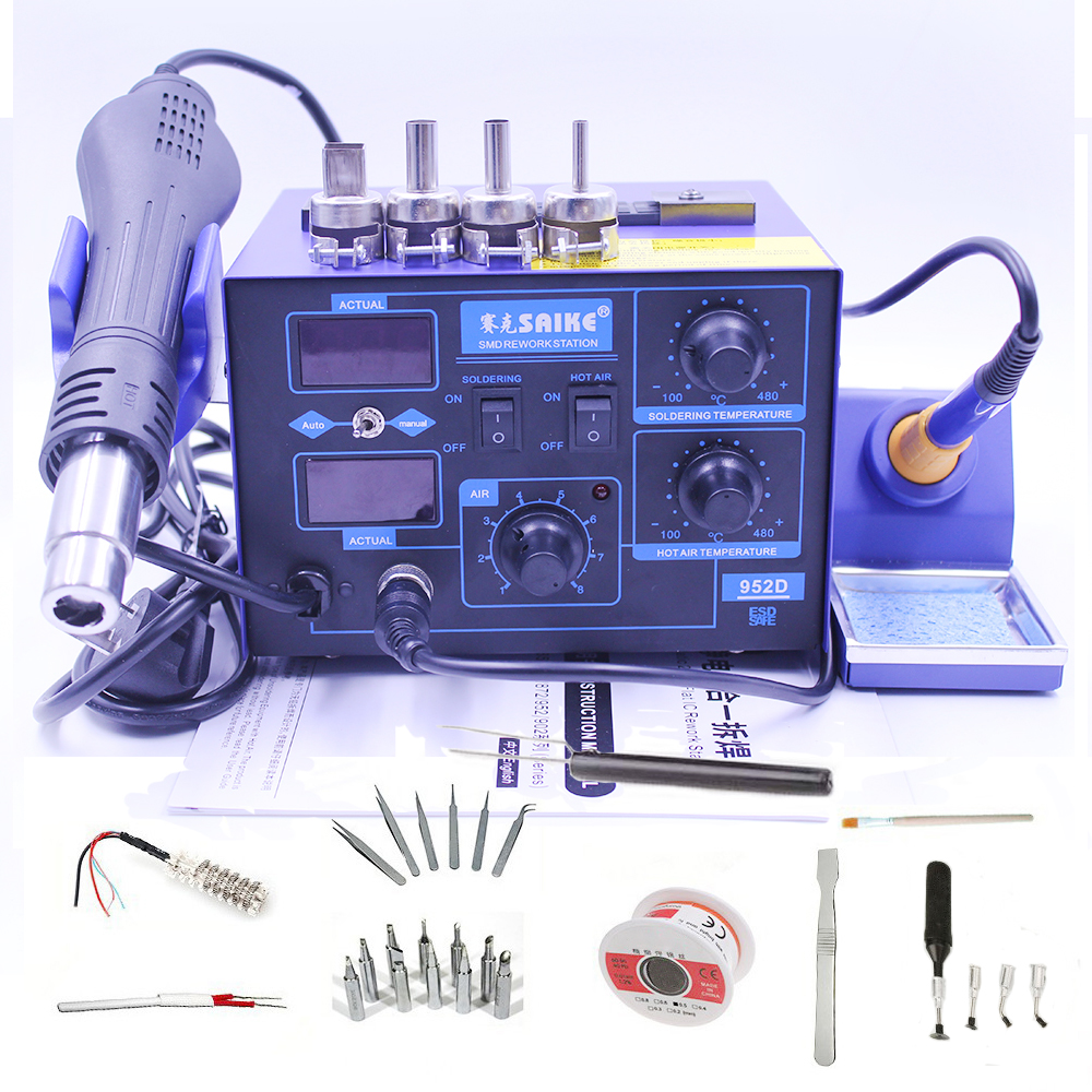 Saike 952D 2 In 1 Digital Display 750W Hot Air Gun Soldering Station Rework Welding Electric