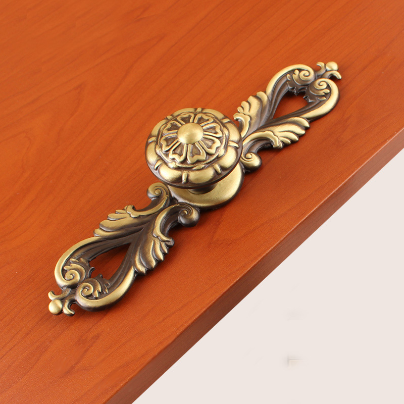 все цены на Solid Brass Copper Drawer Design Door Handle Knobs Furniture European Antique  Art Cabinet Handle(L:127mm)