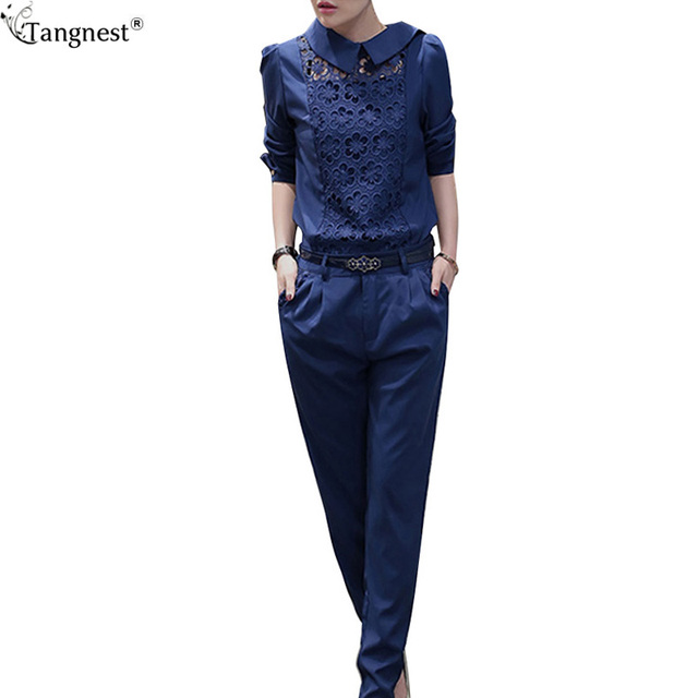TANGNEST Office Lady Blouse Pants Two Pieces A Set 2017 New Lace Solid Women Sets Fashion Blouse Ankle Length Pants Suit WAT978