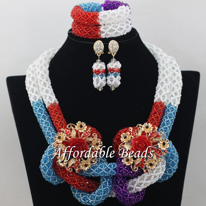 Luxury African Dubai Jewelry Sets Hot Wedding Beads Set Handmade Item Wholesale Free Shipping NCD022 luxury african dubai jewelry sets hot wedding beads set handmade item wholesale free shipping ncd022