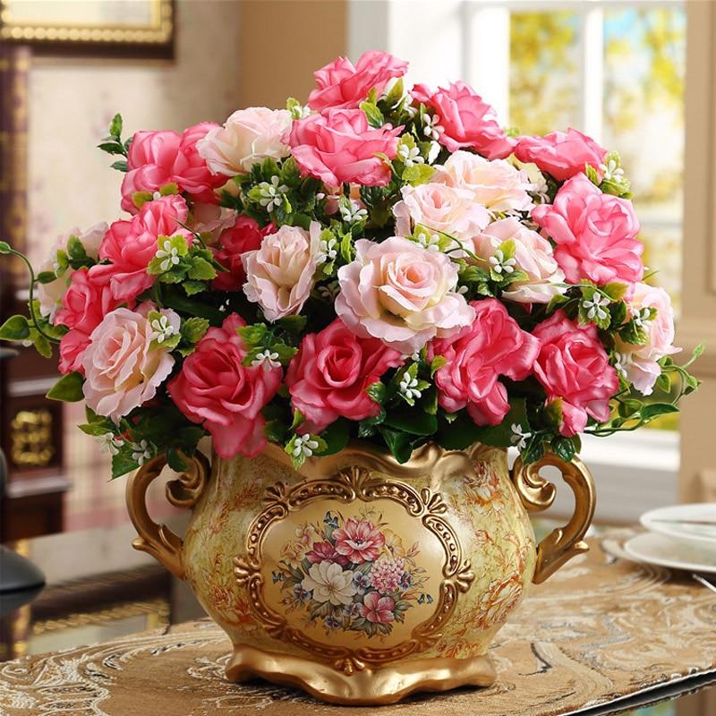 Europe Retro Resin Vase Desktop Artificial Flower Pot Home Furnishing Decoration Crafts Wedding Christmas Gift Office Ornament