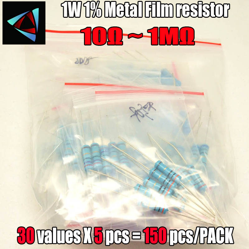 Total 300pcs 1% 1w Metal Film Resistor Assorted Kit 30values*10pcs 300pcs (10 Ohm ~1m Ohm) Free Shippping