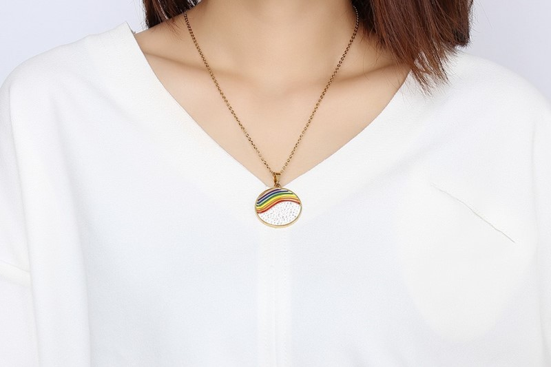 Stainless Steel Crystal Rainbow Lesbian Round Jewelry