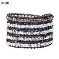 KELITCH Chine Bijoux 1 Pcs Noir En Cuir Véritable Transparent Blanc Cristal Perlé Wrap Multicouches Perles Bracelets Pour Cadeaux