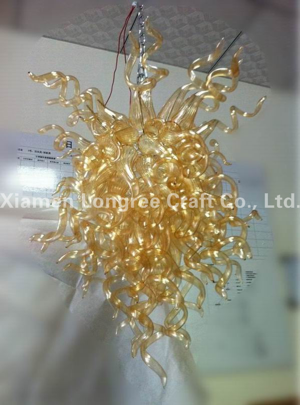 Contemporary Pendant Lamp LED Light Source European Italian Style Amber Colored Hand Blown Murano Glass Shade Chihuly ChandelierContemporary Pendant Lamp LED Light Source European Italian Style Amber Colored Hand Blown Murano Glass Shade Chihuly Chandelier
