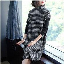 Plus Size Women Black Houndstooth Knitting Stretch Sweater Dress Winter Female Dresses