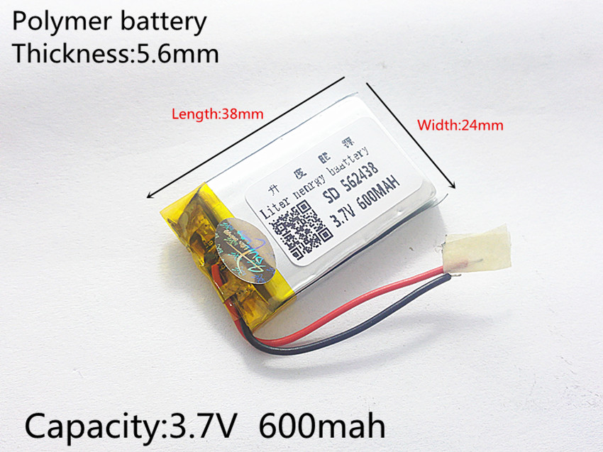 3.7V 600mAh 562438 Lithium Polymer LiPo Rechargeable Battery ion cells For Mp3 Mp4 Mp5 DIY PAD DVD E-book bluetooth headset 3 7v 12000mah 1640138 combination rechargeable lipo polymer lithium li ion battery for power bank tablet pc laptop pad pcm board