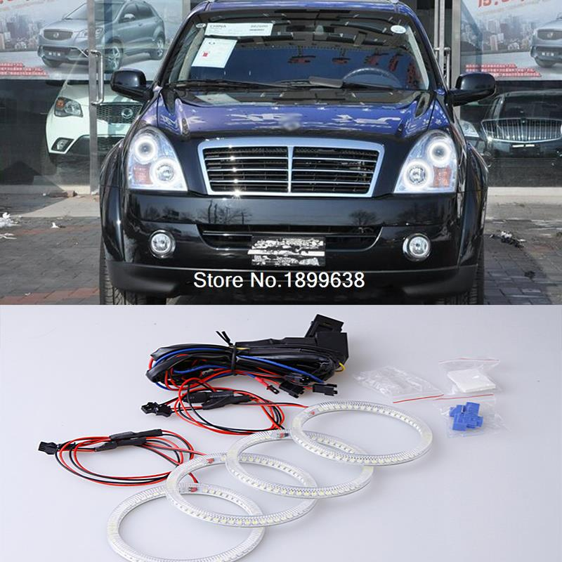 4pcs Super bright red blue yellow white 3528 smd led angel eyes halo rings car styling for Ssangyong Rexton 2006 to 2011 92mm ext diameter 2pcs super bright led angel eyes rings with dimming function white red orange green blue optionally