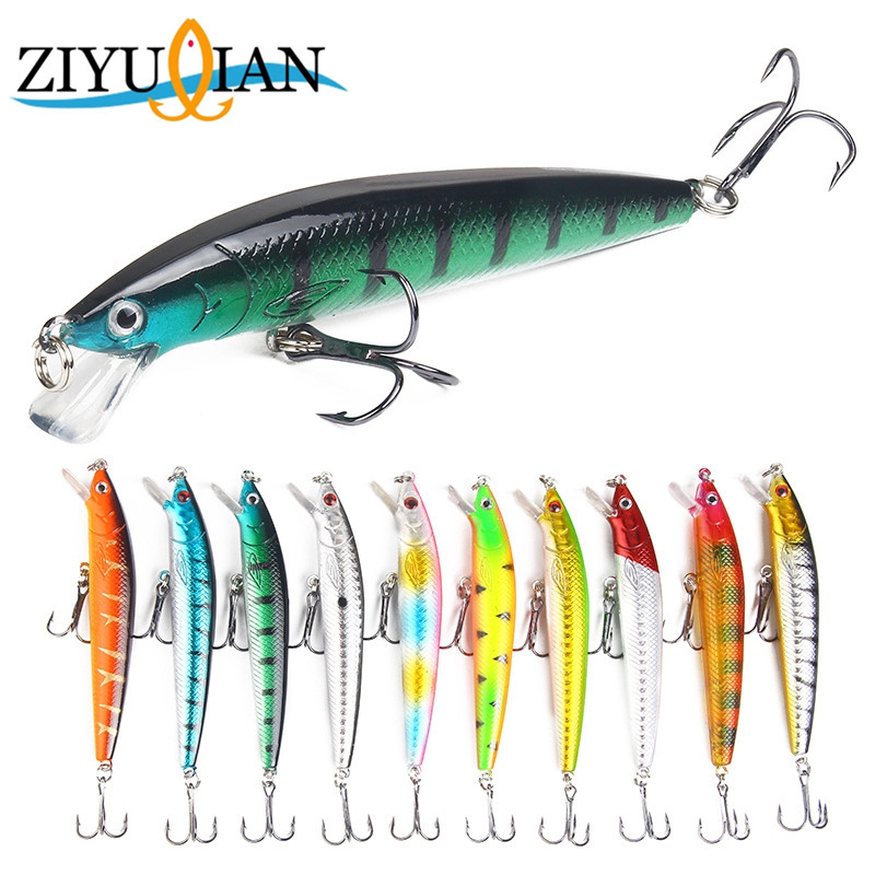 1Pcs Minnow Fishing Lure 3D Eyes 10cm 7g Wobbler Minnow Bass Pike Baits with 2 Hooks for Fishing Tackle Jerkbait Spinner Baits 1pcs fishing lures 9cm 6 5g minnow lure artificial 5 colors available bass crankbait wobbler fishing tackle 3d eyes 6 hooks