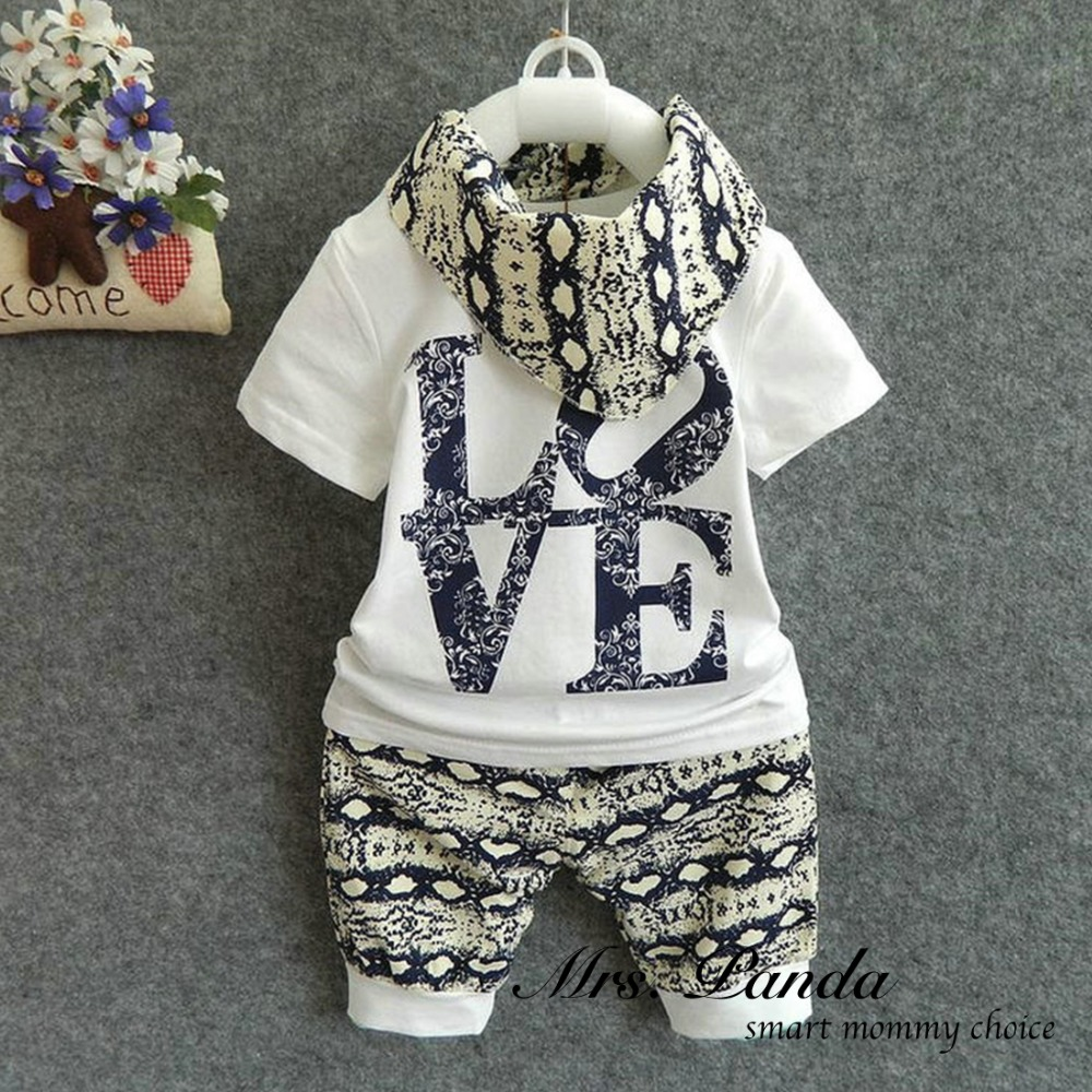 Retail 2016 Summer style Infant clothes Clothing sets Cotton Fashion Baby 3pcs(Short Sleeve + Pants + Scarf) Baby boy clothes