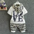 Retail 2017 Summer style Infant clothes Clothing sets Cotton Fashion Baby 3pcs(Short Sleeve + Pants + Scarf) Baby boy clothes