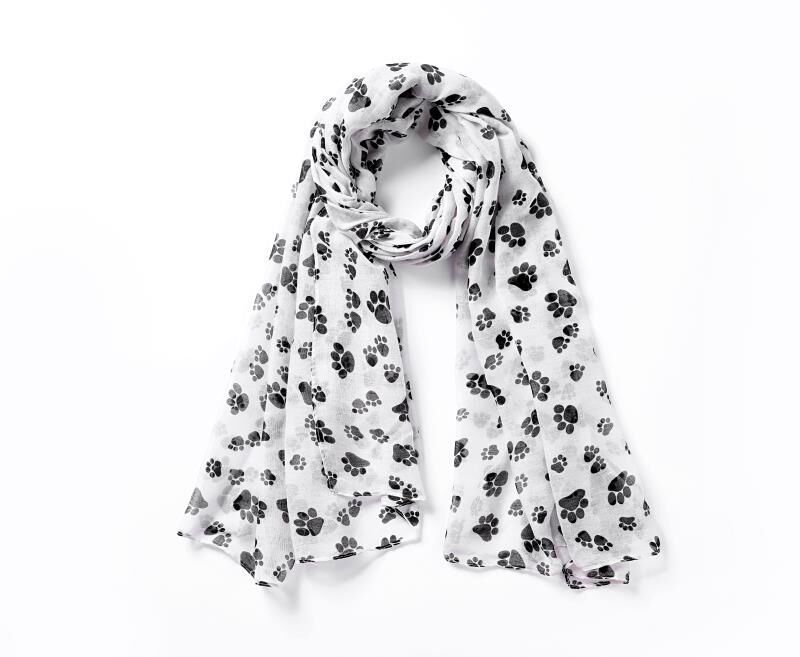 Glitter Paw Print Scarf Metallic Foil Dog Cat Paws Scarf Wrap Animal Lover Gifts