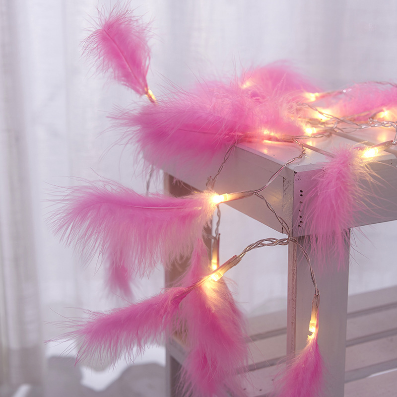 LED String Lights With Feather Fairy Handmade New Year Bar Room Window Wedding Festive Holiday Lamp With Battery Powered
