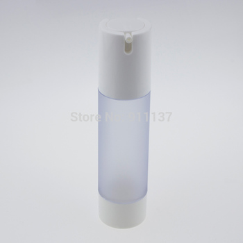 50pcs 50ml frost airless pump packaging for cosmetic , round 50ML airless cosmetic pumps , pp 50ml airless bottle with pump