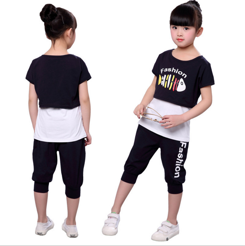 2018 Girls Clothing Sets Summer Children Clothing Set Casual Fashion Short-Sleeve + Pants Set Color Black / Rose Red For Clothes