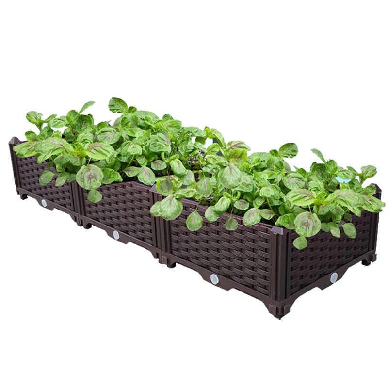 Home Garden Outdoor Plastic Planter  Flowers Grow Box Vegetables Succulents Patio Yard Brown Planting Box Drain HP00-1/2/3/4