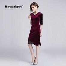 2018 Autumn Purple Velvet Dress Women V-neck Half Sleeve Casual Elegant Solid Office Work Ladies Plus Size XXL