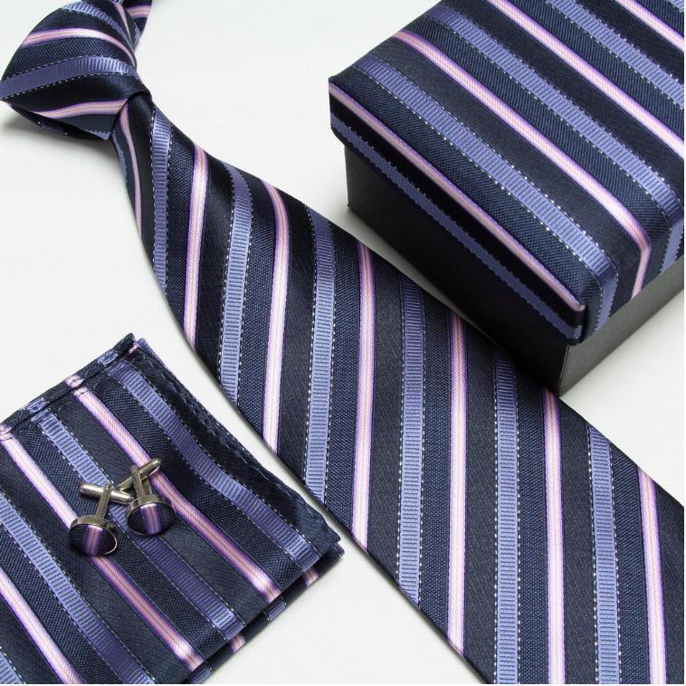 Полосатый набор галстуков галстуки Запонки hanky высокого качества галстуки Запонки карманные квадратные не-Тряпичные носовые платки#8 - Цвет: 7