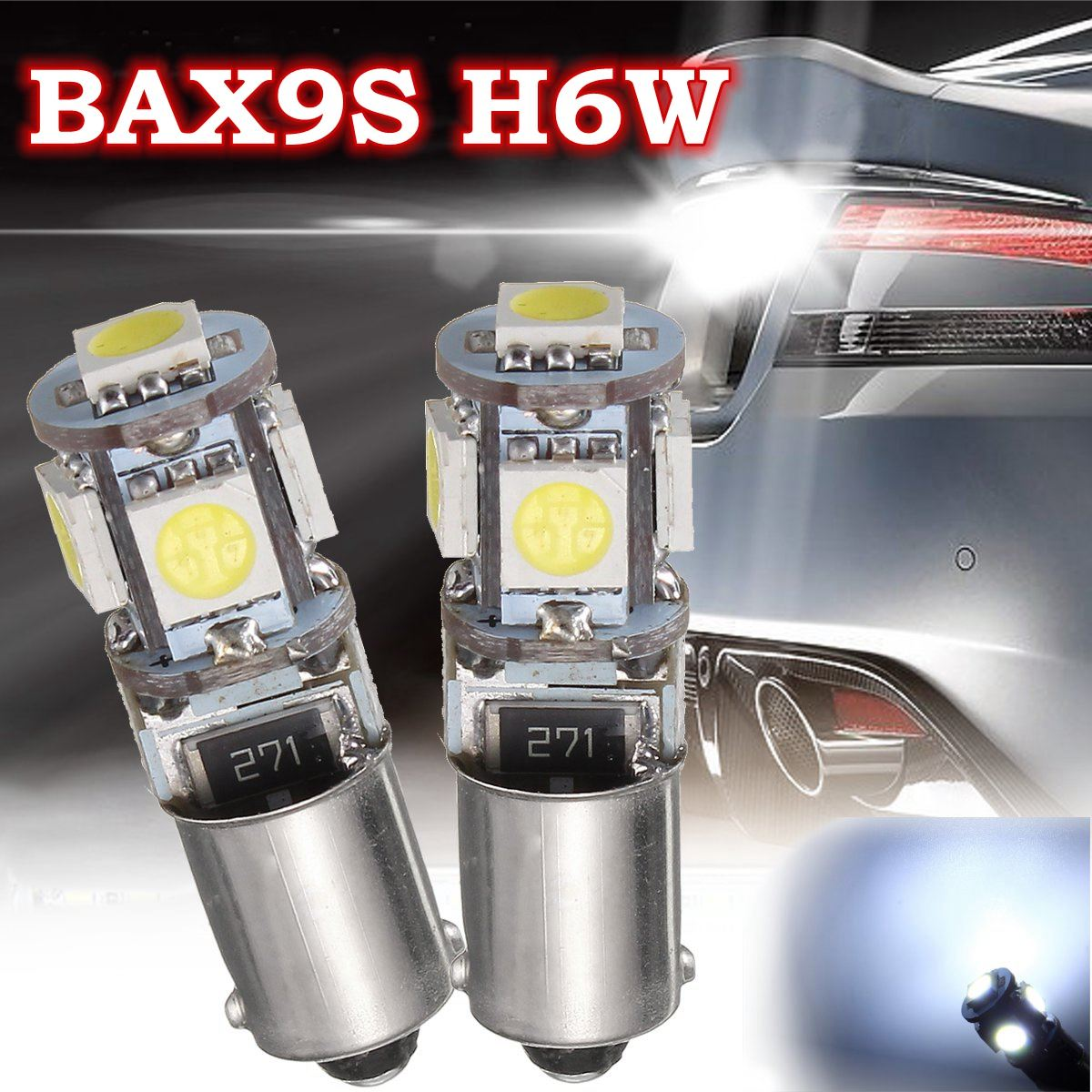 2Pcs <font><b>BAX9S</b></font> <font><b>H6W</b></font> 5LED Side Tail Parking Interior Light Bulbs Marker Reading Lamp <font><b>6000K</b></font> Canbus Error Free