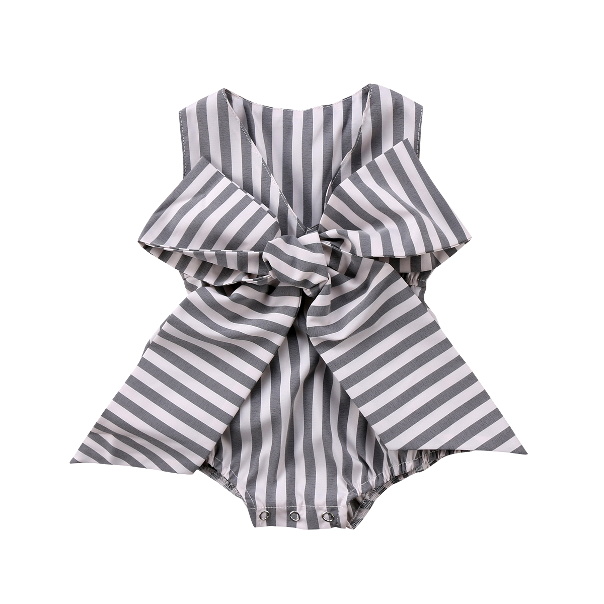 Striped Big Bowknot Gray Stylish Newborn Baby Girls Bow Sleeveless Romper Jumpsuit Clothes Outfits Summer