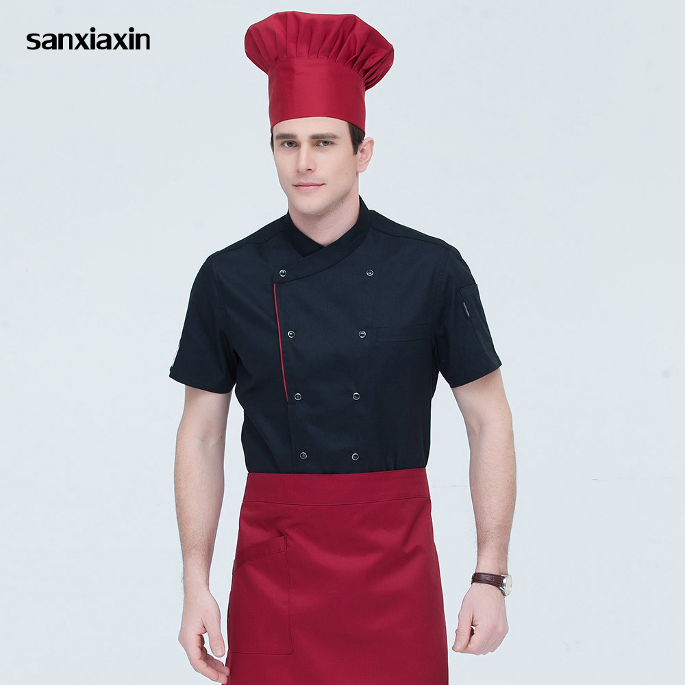 Short Sleeved Catering Work Shirt Restaurant Uniforms Shirts Hotel Kitchen Chef Jacket Double-breasted Food Service Work Clothes