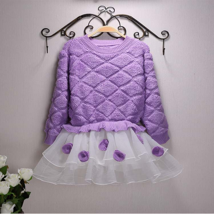 Baby Girls Purple Dress 2017 Spring Autumn Girl Princess Party dress for Baby Kids Sweet Flowers long Sleeve Dress For 2-10Year toddler girl dresses chinese new year lace embroidery flowers long sleeve baby girl clothes a line red dress for party spring