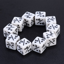 10Pcs +1/+1 White Dice Counters For Magic The Gathering & RPG MTG Table Party Bar Outdoor Interesting Games Portable Dices(China)