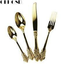 GFHGSD Neue 4 stücke Edelstahl Gold Besteck Dinnerspoon Steakmesser Gabel Europäischen Luxus Goldenen Messer Gabel Teelöffel Geschirr