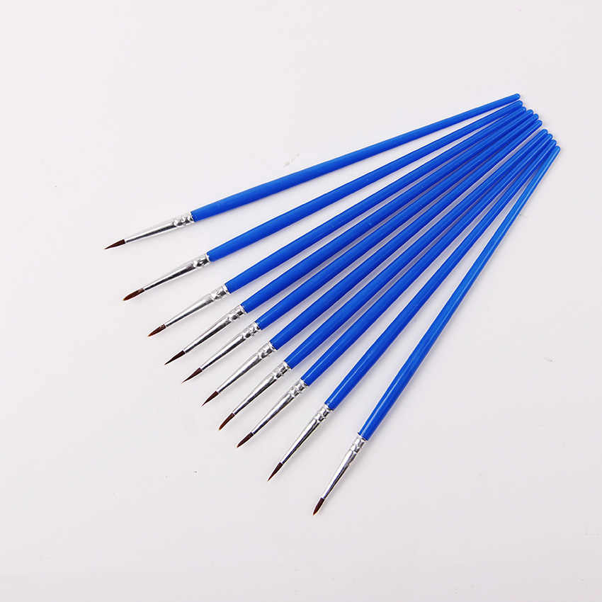 Baik Tangan Dicat Tipis Hook Line Pena Biru Perlengkapan Menggambar Seni Pena Cat Sikat Nilon Sikat Lukisan Pen 10 buah/Set
