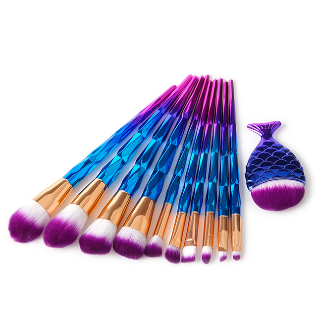 10PCS 11PCS Makeup Brushes Rose Gold Diamond Purple Brush Loose Powder Brush Flat Kit Pincel Maquiagem Make up Brushes 2
