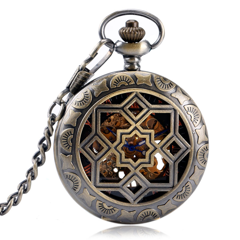 YISUYA Hollow Eight-Pointed Star Roman Number Pocket Watch Retro Skeleton Mechanical Hand Wind Steampunk Fob Chian Gift