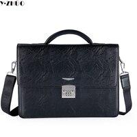 Брендовые деловые мужчины кожаный портфель Комбинации замок сумки 14