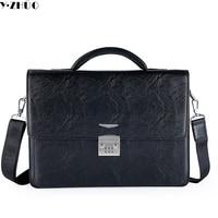 Brand Business Men Leather Briefcase Combination Lock Handbags 14 Men Crossbody Laptop Bags Solid Men Shoulder