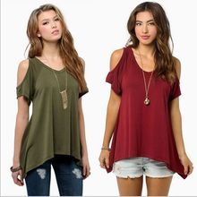 2017 summer tee shirt femme v-neck hole shoulder clothes for women female tshirt tumblr poleras vetement camisetas mujer t-shirt