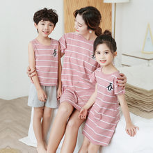 Mother Daughter Son Matching Clothing Sets Stripe Girl Dresses Summer Holiday Family Matching Outfit Cotton Boys Sets Pajamas(China)