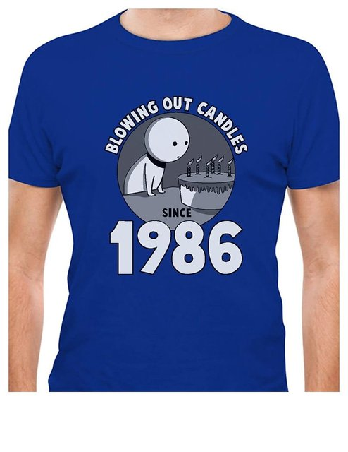 Printed Tee Shirt Design 30th Birthday Gift Idea Blowing Out Candles Since 1986 T Circle Designers
