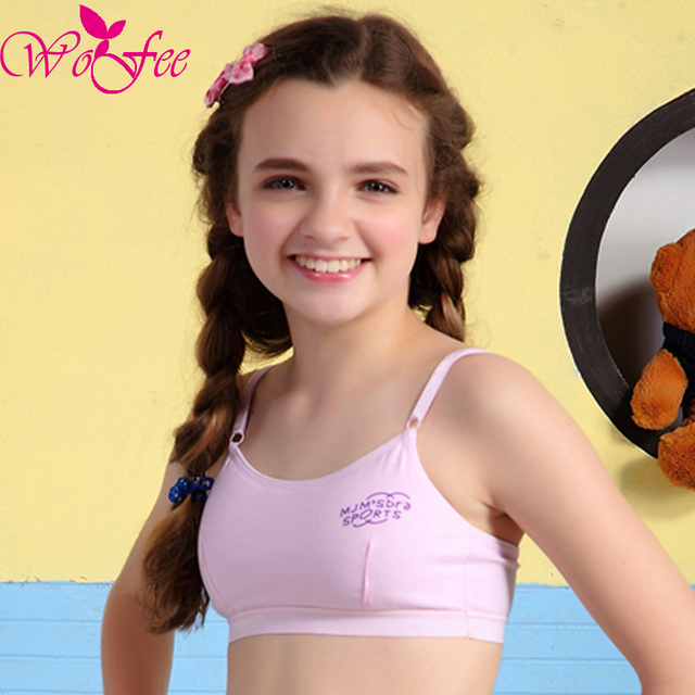 a4dc0538f37 WoFee Young Girls One-Piece Thin Cotton Breathable Sleeping Bras Without  Back Hooks B1023