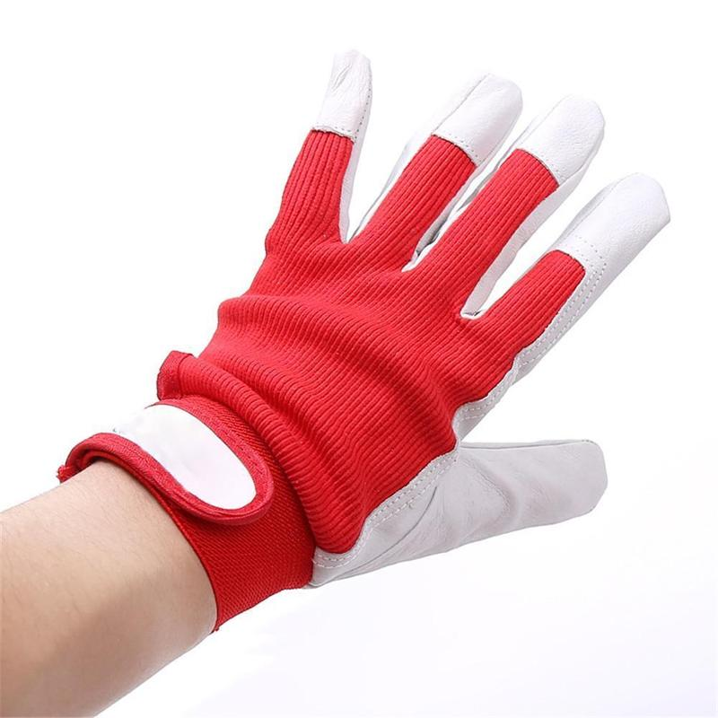 1 Pair Working Gloves Mechanic Work Glove Leather Welding Coat Heavy Industrial Sport Glove Red And White Working Gloves