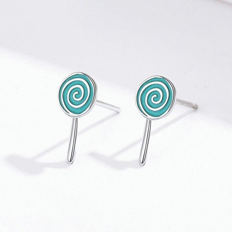 Sweet Lollipop Candy Stud Earrings for Girls Sterling Silver 925 Blue Enamel Ear Studs Korean Jewelry Gifts SCE625 in Earrings from Jewelry Accessories