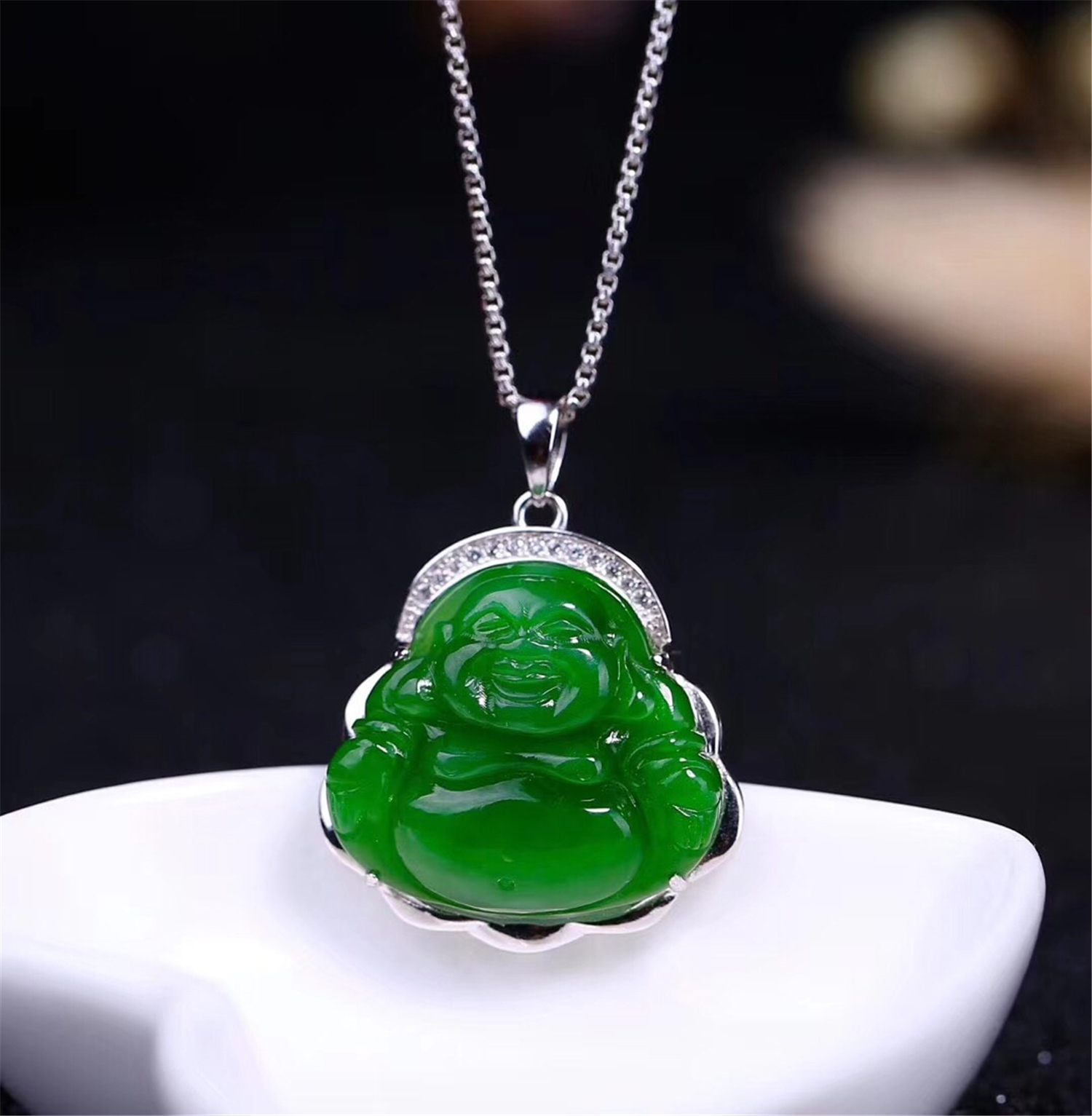Classic New S925 with Certificate Sterling Silver Natural Chinese Hetian Green Jade Women Jasper Pendant Buddha necklaceClassic New S925 with Certificate Sterling Silver Natural Chinese Hetian Green Jade Women Jasper Pendant Buddha necklace