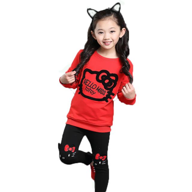 2016 Novo Bebê Conjunto Roupa Da Menina Olá Kitty Pattern Ruffle Hoodies + Calças de Algodão de Alta Qualidade Crianças Roupas de Outono Terno
