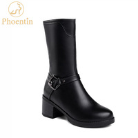 Phoentin mid calf womens boots zipper 2019 fashion square heels bottines with metal decoration black shoes woman platform FT589