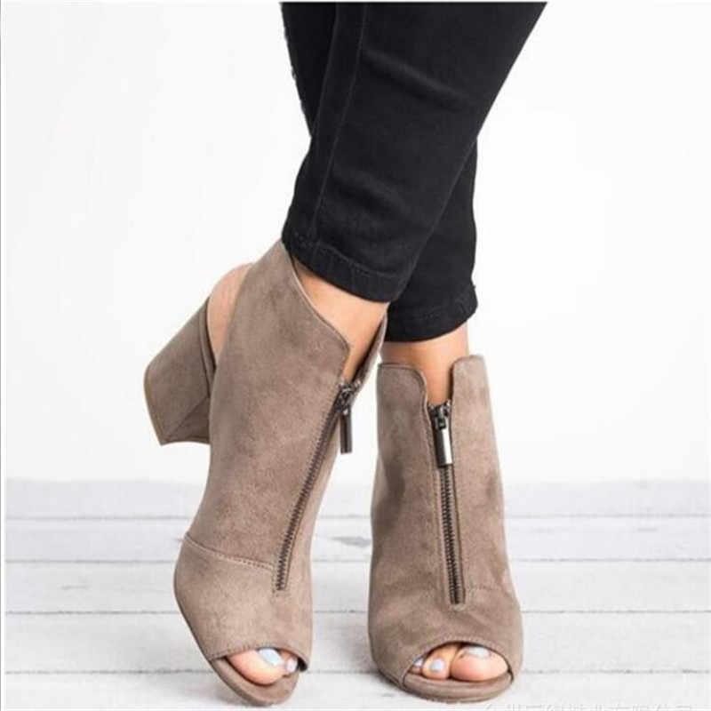 Été Style femmes sandales épais talon haut sandales bout ouvert femme sandales tête de poisson mode dames chaussures noir gris rouge