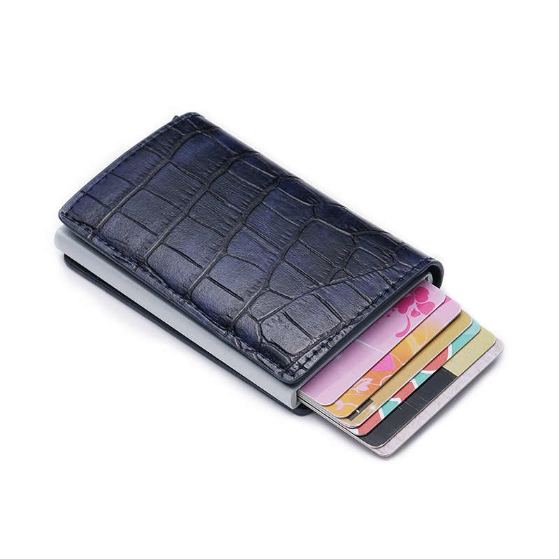 Rfid ผู้ชายบัตรเครดิตผู้ถือผู้ถือบัตร id Card Case Pop Up อลูมิเนียม Minimalist กระเป๋าสตางค์จระเข้ nederlands
